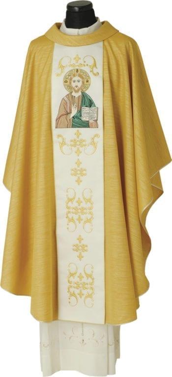 """Casula """"Pantocrator"""" Maranatha Lab in lana lurex oro con stolone con decori classici ed effigie del Cristo Pantocratore"""
