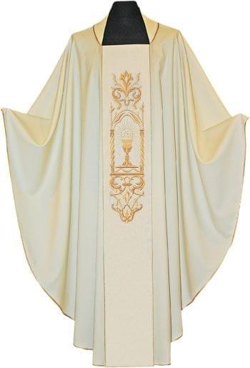 """Casula """"Vetrinetta"""" Maranatha Lab in tessuto fresco lana impreziosita da stolone ricamato in oro con simboli eucaristici"""