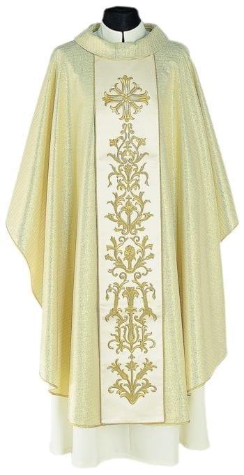 """Casula """"Tiàtira"""" Maranatha Lab in tessuto lana viscosa impreziosito con stolone finemente ricamato in oro seta."""