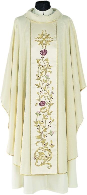 """Casula """"Laodicea"""" Maranatha Lab in tessuto lana viscosa con stolone finemente ricamato a motivi floreali."""