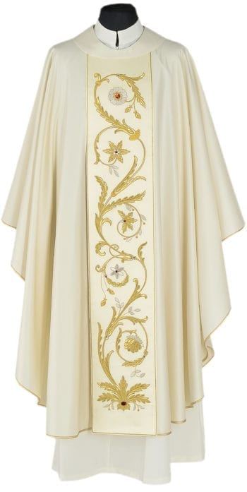 "Casula ""Timoteo"" Maranatha Lab in tessuto fresco lana arricchito da stolone ricamato da motivi floreali."