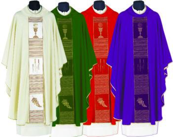 """Casula """"La Verna"""" Maranatha Lab con stolone ricamato a trame nelle tonalità sfumate in tessuto fresco lana"""