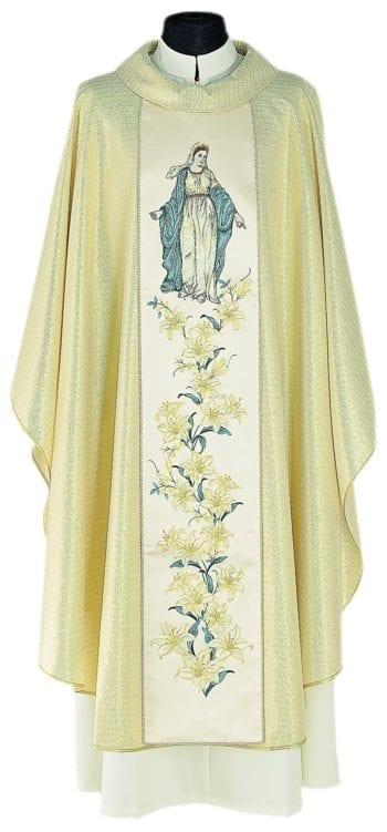 """Casula """"Zàbulon"""" Maranatha Lab in tessuto misto lana con stolone ricamato a motivi floreali e Vergine Maria."""
