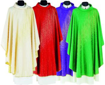 """Casula """"Stella"""" Maranatha Lab in tessuto misto seta con particolare tessitura a striature in oro."""