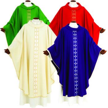 """Casula """"Isacco"""" Maranatha Lab confezionata in tessuto fresco lana con gallone ricamato in oro a motivi cruciformi"""