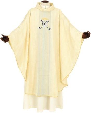"""Casula """"Myriam"""" Maranatha Lab dal taglio classico confezionata in un morbido tessuto misto lana e impreziosita con ricamo diretto mariano"""