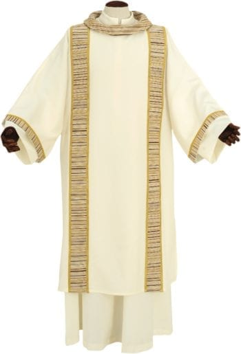 "Dalmatic ""Nicanore"" Maranatha Lab made of micromonastic fabric with chevron, vertical clubs and barrè neck"