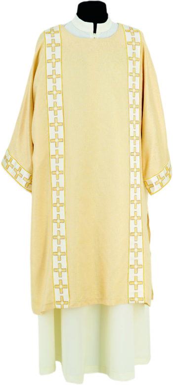"""Dalmatica """"Talita-Kum"""" Maranatha Lab in tessuto misto lana-lurex decorata con gallone ricamato a motivi cruciformi"""