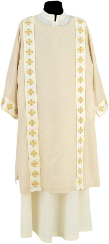 "Dalmatic ""Parmenas"" Maranatha Lab manufactured in light fabric with gold embroidered chevron with cruciform motifs"