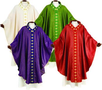 """Casula """"Giona"""" Maranatha Lab dal taglio classico in tessuto lana lurex con gallone e collo ricamati in oro"""
