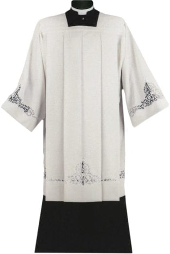 """Maranatha Lab """"Vienna"""" surplice in a wool blend fabric with entrodure lace at the ends, machine made."""