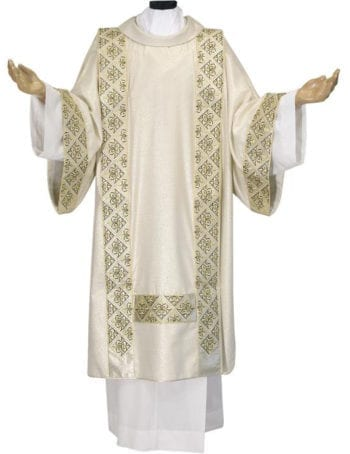 Dalmatic cross lily Pietrobon made of lurex wool and decorated with lurex silk braid. Suitable for solemn celebrations. Made in Italy tailored packaging