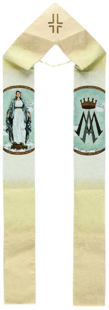 """Stola mariana """"Immacolata"""" interamente tessuta e ricamata al telaio con effigie della Vergine Immacolata"""