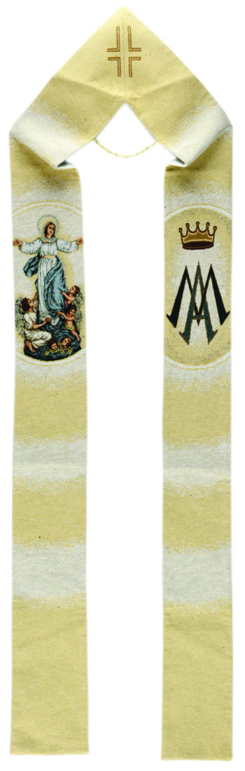 """Stola """"Assunta"""" a telaio confezionata in un tessuto misto di cotone e lurex tessuta e ricamata al telaio"""