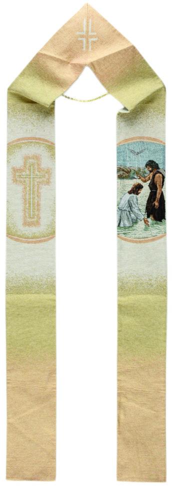 """Stola """"Battesimo di Gesù"""" interamente tessuta e ricamata al telaio con scena del Battesimo di Gesù"""