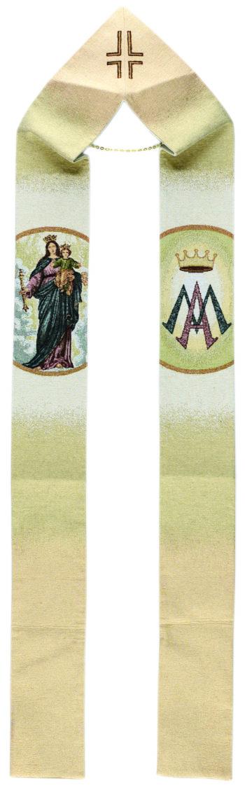 "Stola mariana ""Ausiliatrice"" interamente tessuta e ricamata al telaio con effigie della Vergine Ausiliatrice"