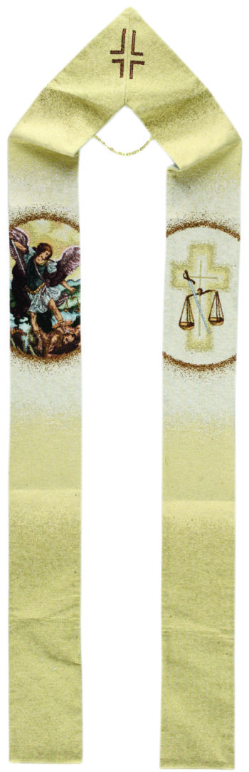 "Stola ""San Michele"" interamente tessuta e ricamata al telaio decoratacon effigie dell'Arcangelo Michele"