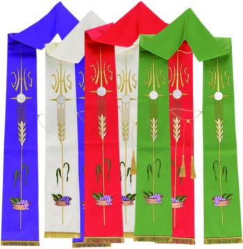 "Stola ""Cena"" Maranatha Lab in tessuto micromonastico, ricamata in oro coi simboli spighe, uva e JHS."