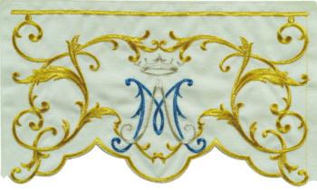 """Bordo """"Maria-Regina"""" Maranatha Lab per tovaglia con monogramma mariano ricamato in oro seta. Prezzo al metro"""