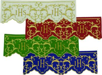 """Bordo """"Perugia"""" Maranatha Lab in tessuto misto lana con ricamo diretto di simbolo JHS e motivo floreale."""