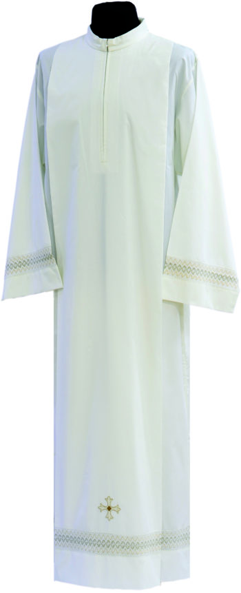"""Camice """"Gianni"""" Maranatha Lab in tessuto misto cotone decorato con ricamo romboidale e simbolo cruciforme."""