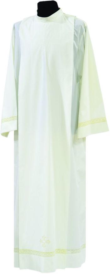 """Camice """"Maurizio"""" Maranatha Lab in tessuto misto cotone, decorato con ricamo intrecciato e simbolo cruciforme."""