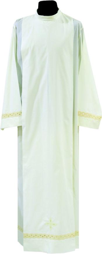 """Camice """"Angelica"""" Maranatha Lab in tessuto misto cotone, decorato con ricamo intagliato incrociato ai bordi."""