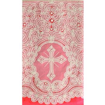 """Completo """"Bolzano"""" Maranatha Lab per camice o cotta, in lino, con pizzo rinascimentale e simbolo cruciforme."""