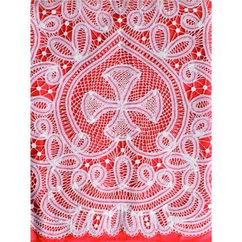 """Completo """"Trento"""" Maranatha Lab per camice o cotta, in lino, con pizzo rinascimentale e simbolo cruciforme."""