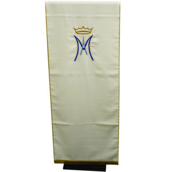 "Marian ""Dalia"" Maranatha Lab lectern cover in micromonastic fabric with direct hand embroidery."