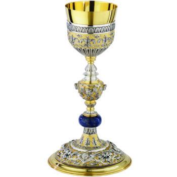"""Calice """"Talita-Kum"""" Maranatha Lab stile classico in ottone bicolore cesellato con coppa in argento"""