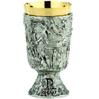 """Calice """"Gloria"""" Maranatha Lab stile moderno in ottone argentato cesellato con interno coppa oro"""