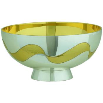 piatto in ottone bicolore in stile contemporaneo coordinato a calice e pisside e decorato con una greca dorata martellata. Interno coppa dorato.