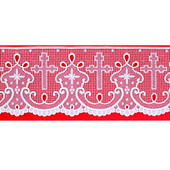 """Bordo """"Lisbona"""" Maranatha Lab in tessuto lino arricchito con pizzo macramè e simboli cruciformi."""