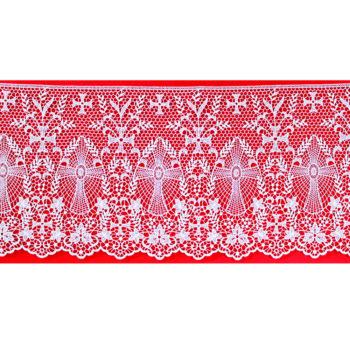 """Bordo """"Genova"""" Maranatha Lab in tessuto lino decorato con pizzo macramè a motivo floreale e simboli cruciformi."""