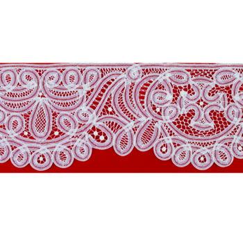 """Bordo """"Belgio"""" Maranatha Lab in tessuto lino decorato con pizzo rinascimentale interamente realizzato a mano."""
