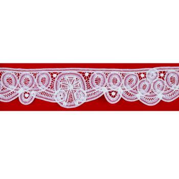 """Bordo """"Lentini"""" Maranatha Lab in tessuto lino decorato con pizzo rinascimentale interamente realizzato a mano."""