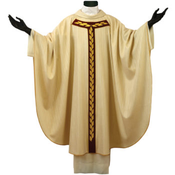 """casula """"Bartolomeo/b"""" stolone ulivo di Pietrobon in lana viscosa dal taglio classico con stolone in seta ricamato con motivi a foglia di ulivo"""