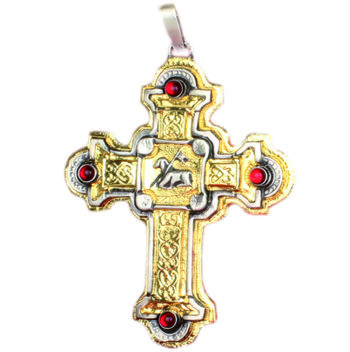 Maranatha Lab Bib Cross in two-tone brass with ruby red set stones