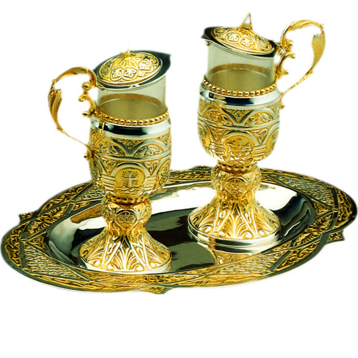 ampoliine set complete with two-tone brass tray in Romanesque style