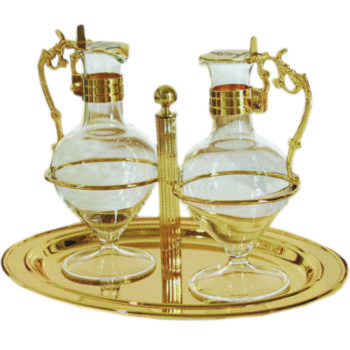 Ampolline classiche in ottone dorato con incisione e smalto dei simboli dell'acqua e dell'uva