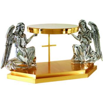 Tronetto in fusione bicolore in fusione di ottone dorato decorato con statue angeliche finitura argento