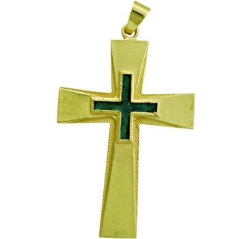 """Croce-pettorale """"Luca"""" Maranatha Lab interamente realizzata in argento finitura oro con decoro smaltato"""