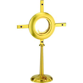 """Ostensorio """"Sahara"""" Maranatha Lab stile moderno in ottone dorato decorato alla base con statua angelica"""
