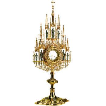 Ostensorio in stile gotico realizzato in argento massiccio bicolore