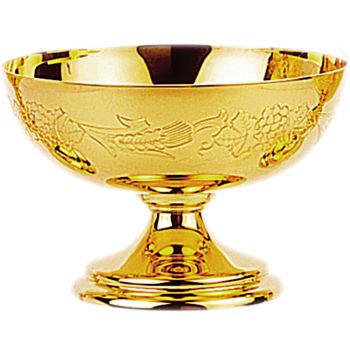 Piatto uva e spighe moderno realizzato interamente in ottone dorato lucido