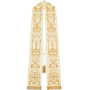 """Stola """"Jhs"""" Maranatha Lab Stola in tessuto moella misto seta impreziosita con ricami in oro e simboli Jhs"""