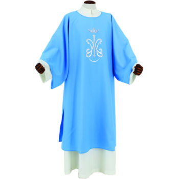"Dalmatic ""Ignazio / b"" Maranatha Lab in micromonastic fabric with direct silver Marian embroidery."