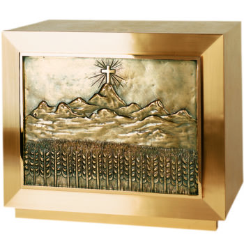 Modern Gethsemane Altar Tabernacle rectangular shape and door decorated with Mount Gethsemane overhang and ears of wheat
