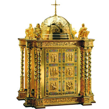 Baroque table tabernacle richly decorated with scenes from the life of Christ, twisted columns and cloisonné enamel filigree decoration